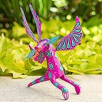 Wood alebrije figurine, 'Dramatic Dragon' - Fuchsia Alebrije Dragon with Multicolor Hand Painted Motifs