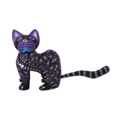 Wood alebrije figurine, 'Sophisticated Cat' - Black Alebrije Cat Silver and Purple Hand Painted Motifs