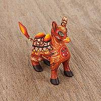 Wood alebrije figurine, 'Desert King' - Orange Alebrije Camel with Multicolor Hand Painted Motifs
