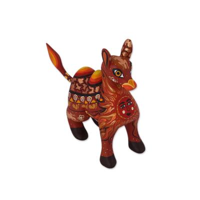 Wood alebrije figurine, 'Desert King' - Orange Alebrije Camel with Multicolor Hand Painted Motifs