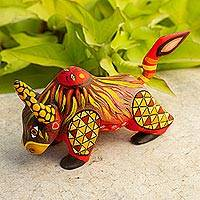 Wood alebrije figurine, 'Sun Force' - Orange Alebrije Bull with Multicolor Hand Painted Motifs