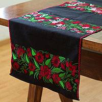 Cotton table runner, 'My Roses' - Embroidered Rose Motif Cotton Table Runner from Mexico