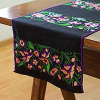 Cotton table runner, 'Rosy Path' - Cotton Table Runner with Pink Rose Motifs from Mexico