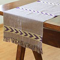 Cotton table runner, 'Blue-Violet Arrows' - Handwoven Cotton Table Runner in Blue-Violet and Beige
