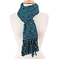 Cotton scarf, 'Masterful Combination' - Aubergine and Viridian Handwoven Cotton Scarf from Mexico
