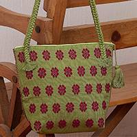 Cotton shoulder bag, 'Magenta Garden' - Handwoven Olive Cotton Shoulder Bag with Magenta Flowers
