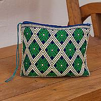 Cotton cosmetic bag, 'Dance of Green Sunflowers' - Geometric Cotton Cosmetic Bag in Green from Mexico