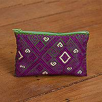Cotton coin purse, 'Eggplant Geometry' - Eggplant and Avocado Cotton Coin Purse from Mexico