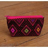 Cotton coin purse, 'Cerise Fascination' - Cerise and Black Cotton Coin Purse from Mexico