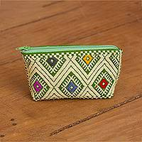 Cotton coin purse, 'Warm Olive Fascination' - Warm Olive and Lemon Cotton Coin Purse from Mexico