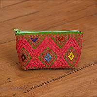Cotton coin purse, 'Avocado Fascination' - Avocado and Strawberry Cotton Coin Purse from Mexico