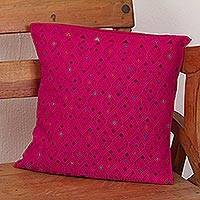 Cotton cushion cover, 'Cerise Rhombi' - Handwoven Cotton Cushion Cover in Cerise from Mexico