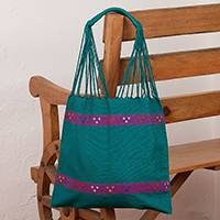 Cotton shopping bag, 'Artisanal Emerald' - Handwoven Cotton Shopping Bag in Emerald from Mexico