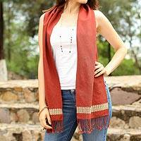 Cotton scarf, 'Russet Wanderer' - Embroidered Cotton Scarf in Russet from Mexico