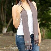 Cotton scarf, 'Pewter Journey' - Handwoven Cotton Scarf in Pewter from Mexico