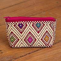 Cotton coin purse, 'Cherry Fascination' - Cherry and Cornsilk Cotton Coin Purse from Mexico