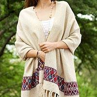 Wool shawl, 'Diamond Tradition' - Beige Wool Shawl with Colorful Diamond Brocade Border