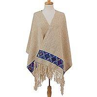 Wool shawl, 'Diamond Brocade' - Beige Handwoven Wool Shawl Multicolor Diamond Brocade Border