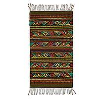 Wool area rug, 'Zapotec Geometry' (2x3) - Multicolored Geometric Motif Wool Area Rug (2x3) from Mexico