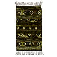 Wool area rug, 'Green Zapotec' (2x3.5) - Green Geometric Zapotec Wool Area Rug (2x3.5) from Mexico