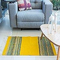Wool area rug, 'Zapotec Honey' (2x3) - Zapotec Wool Area Rug in Yellow (2x3) from Mexico