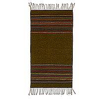 Wool area rug, 'Brown Borders' (2x3) - Handwoven Striped Wool Area Rug in Brown (2x3) from Mexico