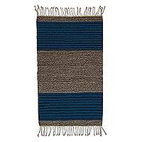 Wool area rug, 'Blue and Grey' (2x3) - Handwoven Wool Area Rug in Blue and Grey (2x3) from Mexico