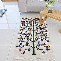 Wool area rug, 'Geometric Tree of Life' (2.5x5) - Handwoven Wool Tree of Life Area Rug (2.5x5) from Mexico