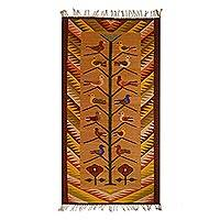 Wool area rug, 'Bird Home' (2.5x5) - Wool Tree of Life Area Rug (2.5x5) from Mexico