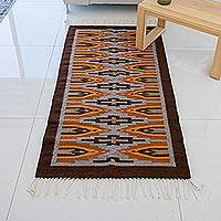 Wool area rug, 'Zapotec Cross' (2.5x5) - Orange and Brown Zapotec Style Hand Woven Area Rug (2.5x5)