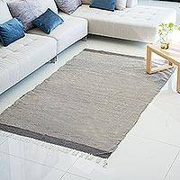 Wool area rug, 'Daily News' (5x8) - Dark Grey and Ivory Thin Stripes Hand Woven Area Rug (5x8)