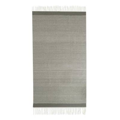 Dark Grey and Ivory Thin Stripes Hand Woven Area Rug (5x8)