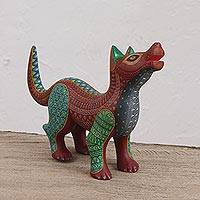 Wood alebrije sculpture, 'Brave Dog' - Handcrafted Copal Wood Alebrije Dog Sculpture from Mexico