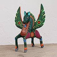 Wood alebrije sculpture, 'Brave Pegasus' - Handcrafted Copal Wood Alebrije Pegasus Sculpture