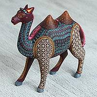 Wood alebrije sculpture, 'Mystical Camel' - Hand-Painted Colorful Wood Alebrije Sculpture from Mexico