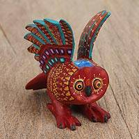 Wood alebrije figurine, 'Take Flight' - Handcrafted Copal Wood Alebrije Owl Figurine from Mexico