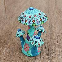 Wood figurine, 'Mushroom Psychedelia' - Floral Wood Mushroom Figurine in Blue from Mexico