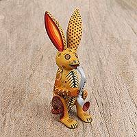 Wood alebrije figurine, 'Musical Rabbit' - Handcrafted Copal Wood Alebrije Rabbit Figurine from Mexico