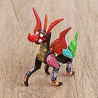 Wood alebrije figurine, 'Dragon Flair' - Handcrafted Copal Wood Alebrije Dragon Figurine from Mexico