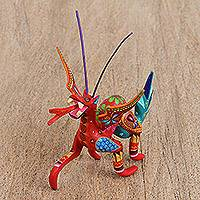 Wood alebrije figurine, 'Dragon Drama' - Handcrafted Copal Wood Alebrije Dragon Figurine from Mexico