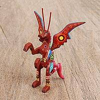 Wood alebrije figurine, 'Dragon Delight' - Handcrafted Copal Wood Alebrije Dragon Figurine from Mexico