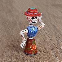Wood figurine, 'Graveyard Dance' - Hand Painted Copal Wood Figurine from Mexico
