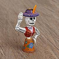 Wood alebrije figurine, 'Skeleton Dance' - Hand Painted Copal Wood Alebrije Figurine from Mexico