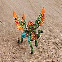 Wood alebrije figurine, 'Graceful Pegasus' - Handcrafted Copal Wood Alebrije Pegasus Figurine