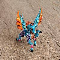 Wood alebrije figurine, 'Powerful Pegasus' - Handcrafted Copal Wood Alebrije Pegasus Figurine