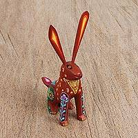 Wood alebrije figurine, 'Attentive Rabbit in Red' - Wood Alebrije Rabbit Figurine in Red from Mexico