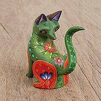Wood alebrije figurine, 'Watchful Fox in Green' - Wood Alebrije Fox Figurine in Green from Mexico