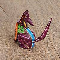 Wood alebrije figurine, 'Primal Coyote' - Hand-Painted Wood Alebrije Coyote Figurine from Mexico