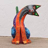 Wood alebrije figurine, 'Cat's Curiosity' - Handcrafted Wood Alebrije Cat Figurine from Mexico