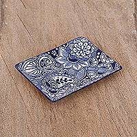 Ceramic tray, 'Garden Gathering' - Handcrafted Rectangular Blue Floral Ceramic Tray from Mexico
